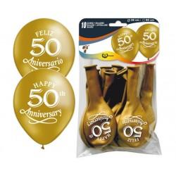 GLOBOS 50 ANIVERSARIO DORADO