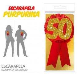 ESCARAPELA 50 AÑOS CON PURPURINA
